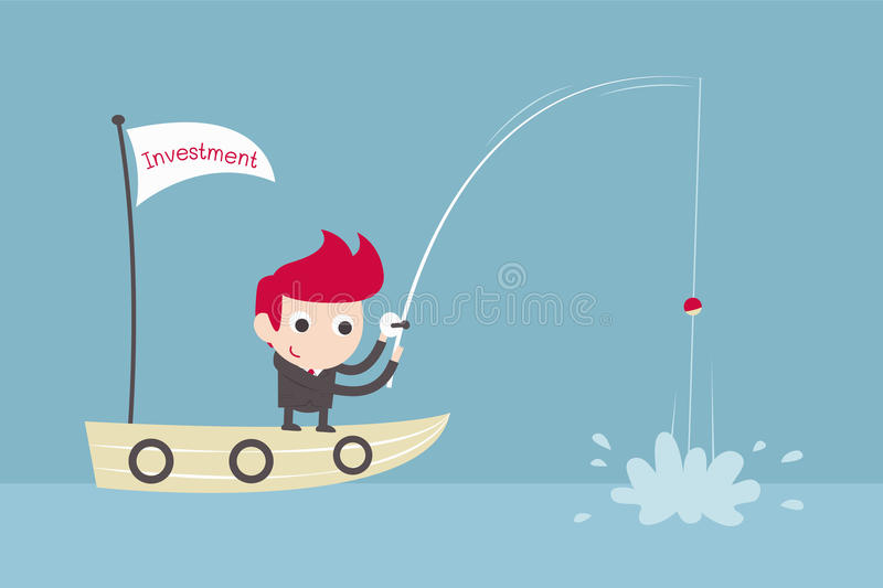 Businessman fishing on boat royalty free stock images