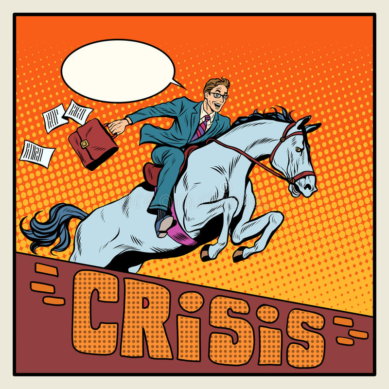 Businessman on a horse jumping barrier crisis. Businessman on a horse jumping a barrier crisis pop art retro style. Business concept success. Horses and horse royalty free illustration