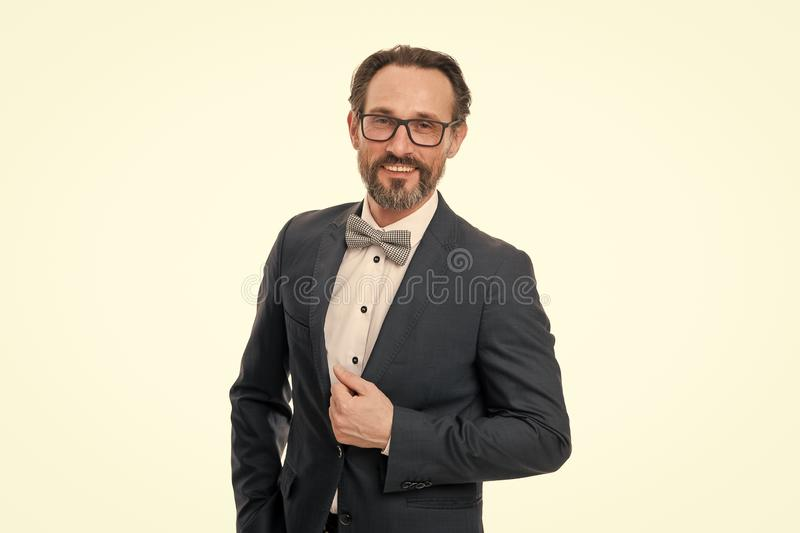Businessman or host fashionable outfit  white. Man bearded hipster wear classic suit outfit. Formal outfit. Take royalty free stock image