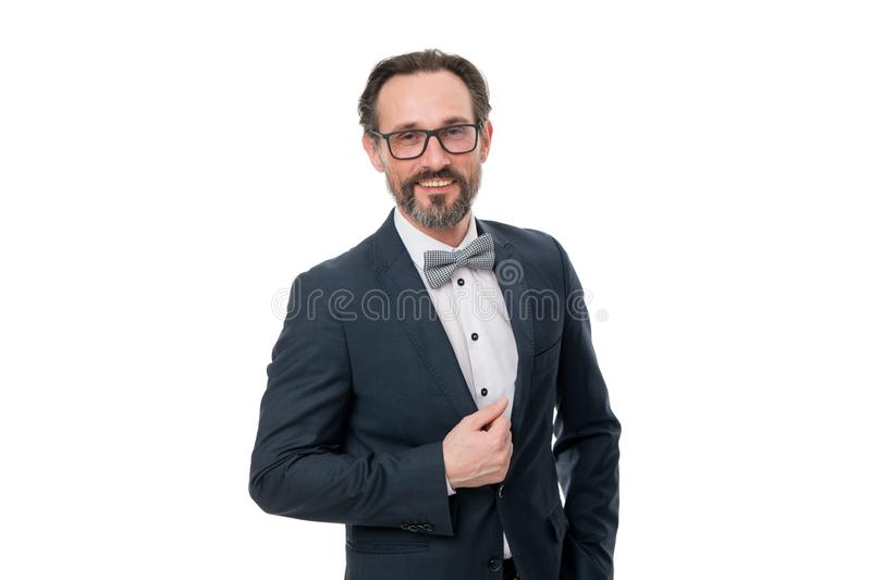 Businessman or host fashionable outfit isolated white. Man bearded hipster wear classic suit outfit. Formal outfit. Take stock photos