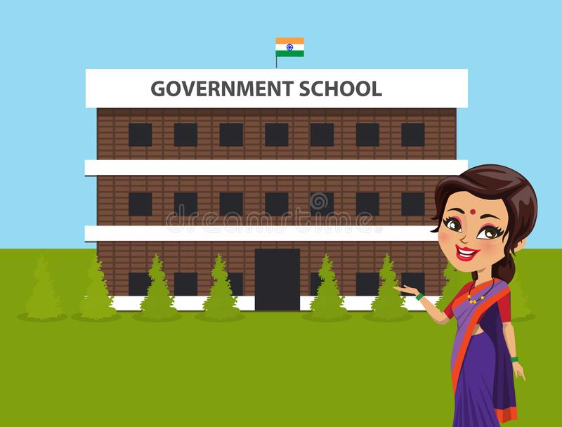 An Indian woman teacher wearing a saree is standing in front of a government school building - Vector stock illustration