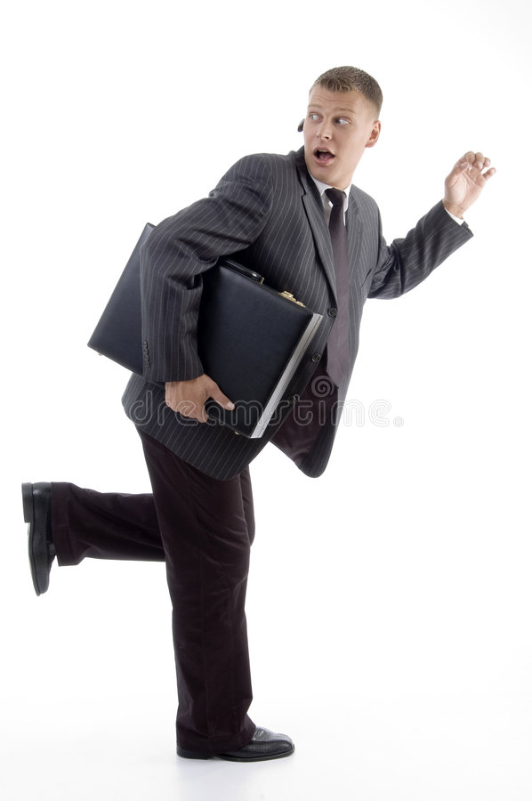 Download Businessman In Hurry With Briefcase Royalty Free Stock Photos - Image: 7118068