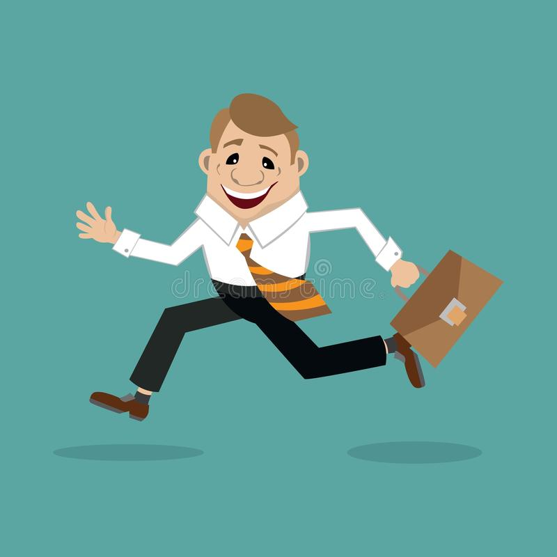 Businessman in a hurry to meet. Businessman in a shirt and pants with a bag in hand running to meet a client. vector illustration, cartoon vector illustration