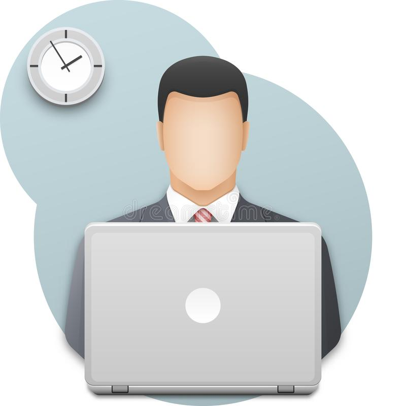 Businessman with laptop. Successful young man dressed in gray business suit working on laptop on wall background with office clock stock illustration
