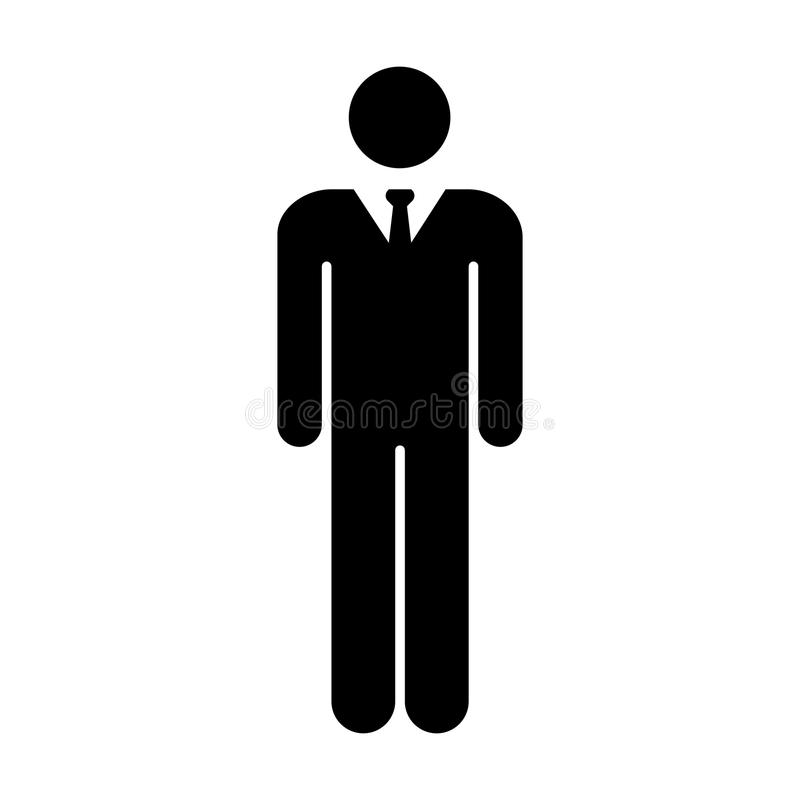 Man Icon Vector Male Symbol of Business Person with Tie Sign in Glyph Pictogram illustration royalty free illustration