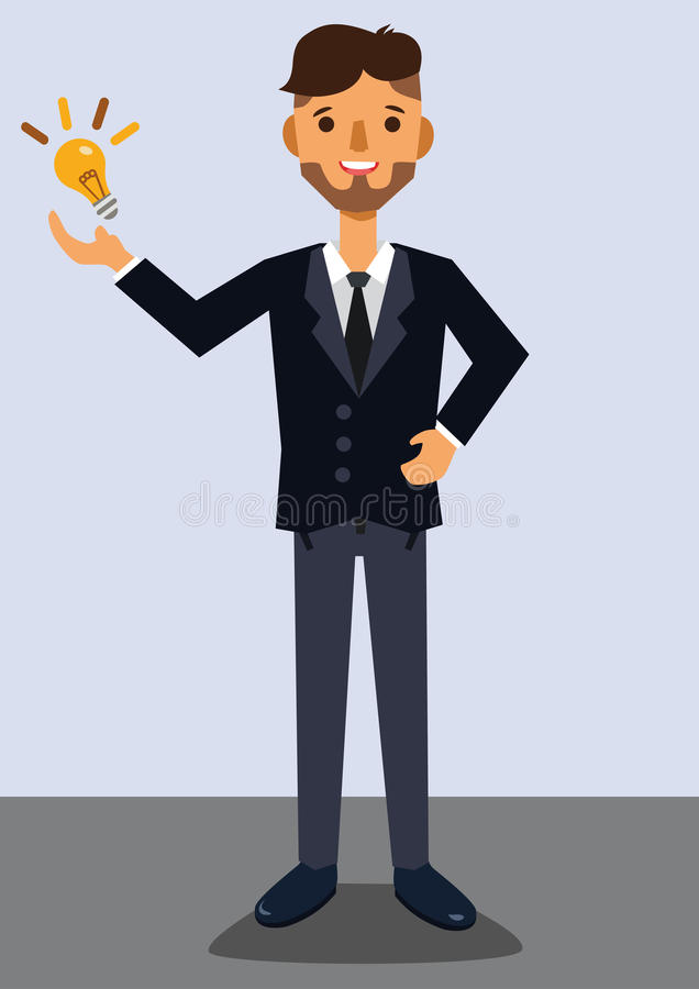 Businessman with idea. Man has a new idea royalty free illustration