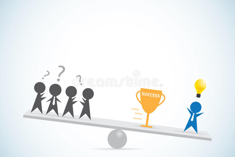 Businessman with idea vs businessmen without idea, idea and business concept vector illustration