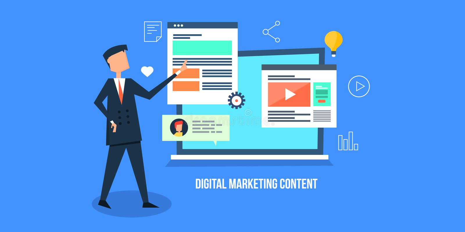 Flat design concept of digital marketing, content for internet media promotion. Businessman identifying contents for digital marketing campaign, video, blog royalty free illustration