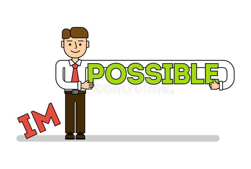 Businessman with im possible. Concept of successful business, solution, confidence and hope. Everything is possible royalty free illustration