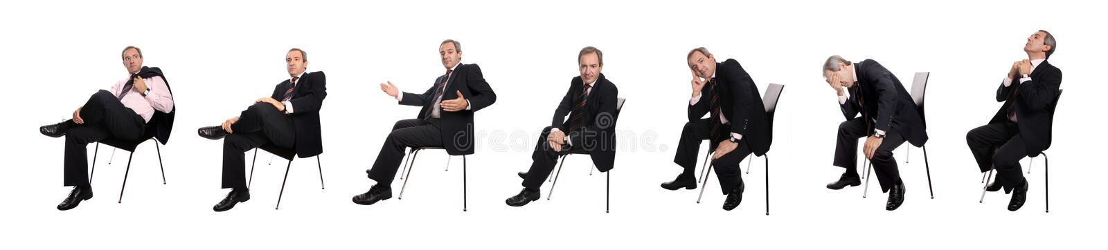 Businessman images. Group of businessman images sitting in several positions isolated on white stock photos