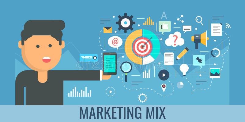 Digital marketing mix, internet promotion, content development, publishing, video, email, marketing concept. Flat design banner. stock illustration