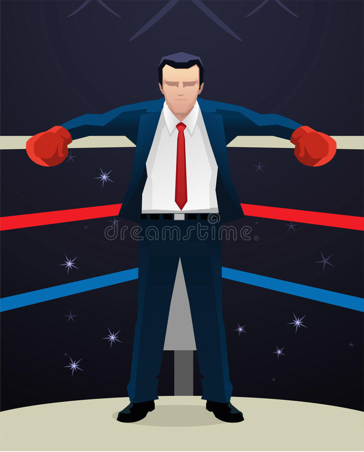 Free Businessman In Boxing Ring Standing At Corner Wearing Box Gloves Stock Image - 47052471