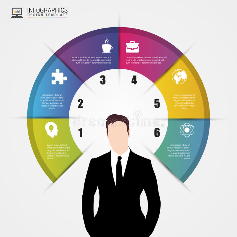 Businessman. Infographics concept. Modern design template stock illustration