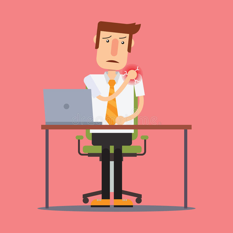 Businessman injured at work suffering from shoulder pain. vector illustration