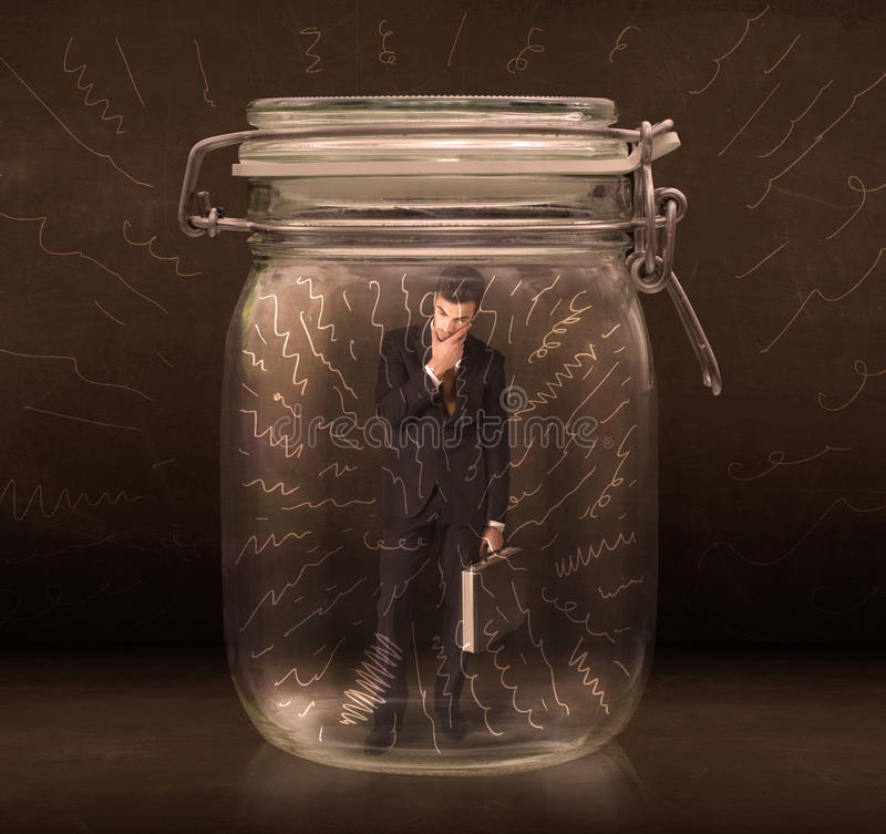Businessman inside a jar with powerful hand drawn lines concept. On bakcground royalty free stock photo