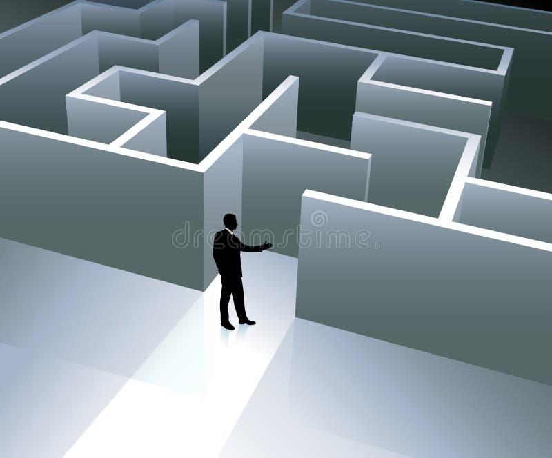 Businessman internet background with maze stock illustration