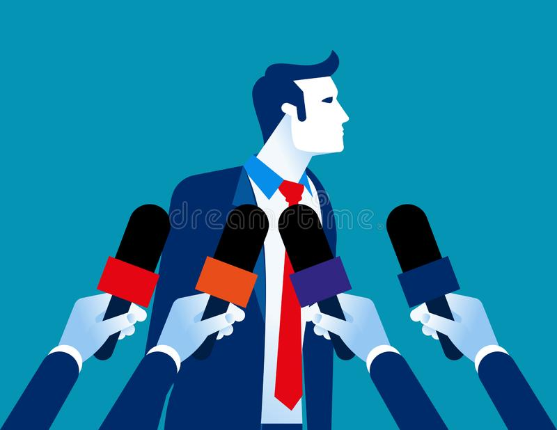 Businessman interview. Concept business  illustration, Newspaper, News Reporter stock illustration