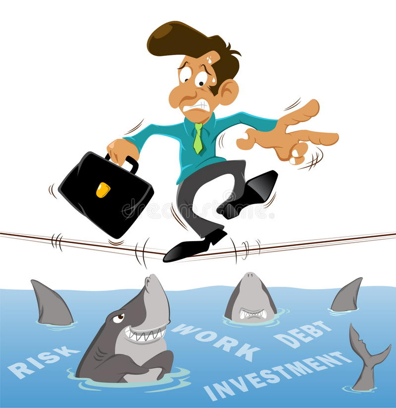 Businessman with investment. Businessman and investment risk tightrope with many sharks royalty free illustration