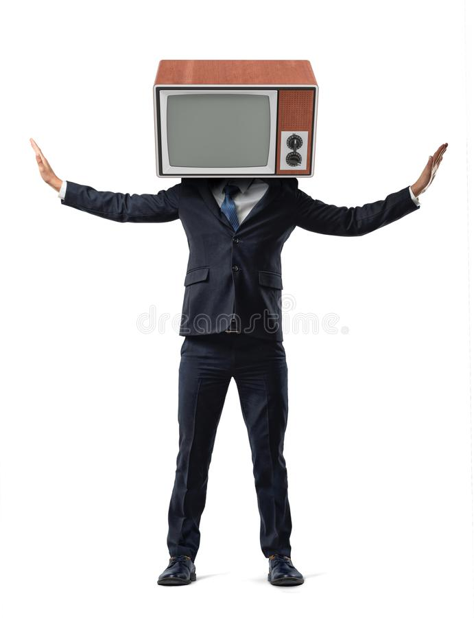 A businessman on isolated background has his head replaced with a retro TV and holds his arms raised on sides. stock images