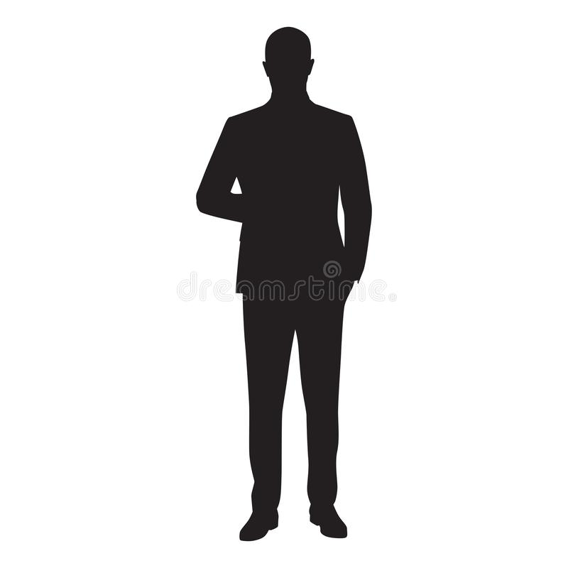 Businessman vector silhouette. Man in suit standing with hand in pocket, front view stock illustration