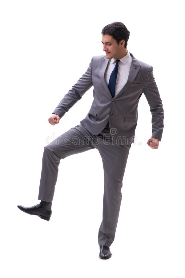 The businessman isolated on the white background. Businessman isolated on the white background stock image