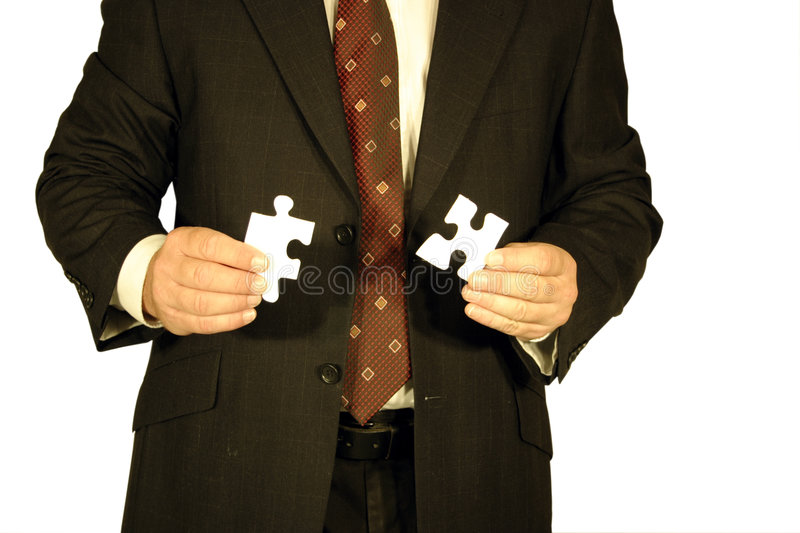 Download Businessman with jigsaw stock image. Image of combined - 1708077