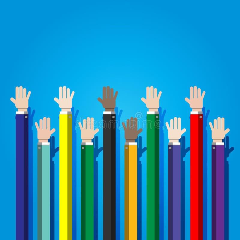 Businessman joining hands together. Cooperation concept vector illustration