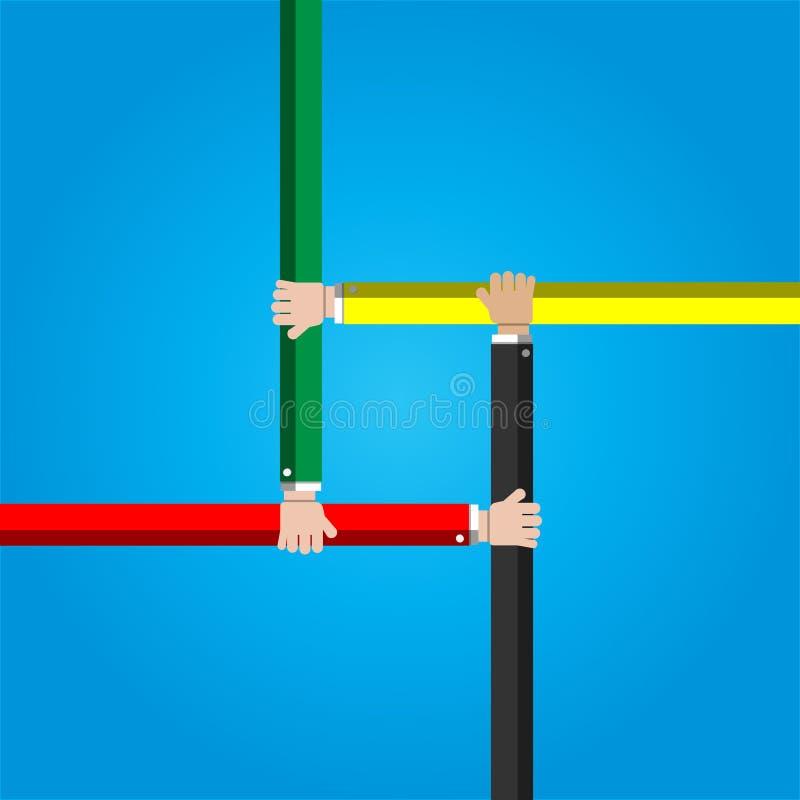 Businessman joining hands together cooperation. Concept stock illustration
