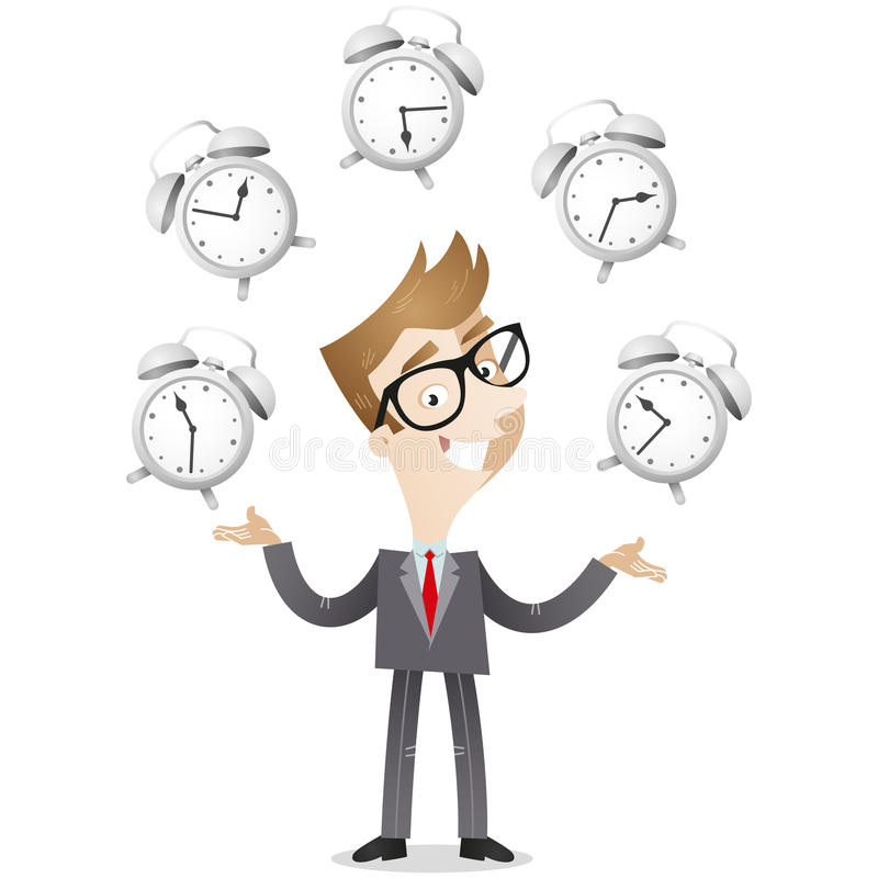 Businessman juggling with alarm clocks. Vector illustration of a smiling cartoon businessman juggling with alarm clocks, symbolizing time management royalty free illustration