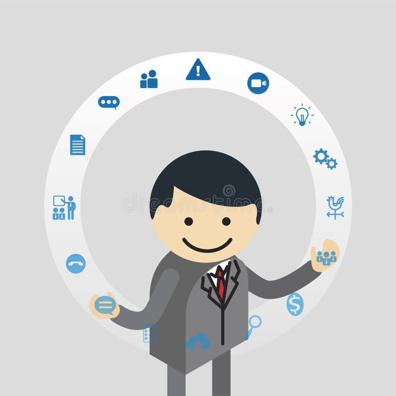 Businessman juggling business icons stock illustration