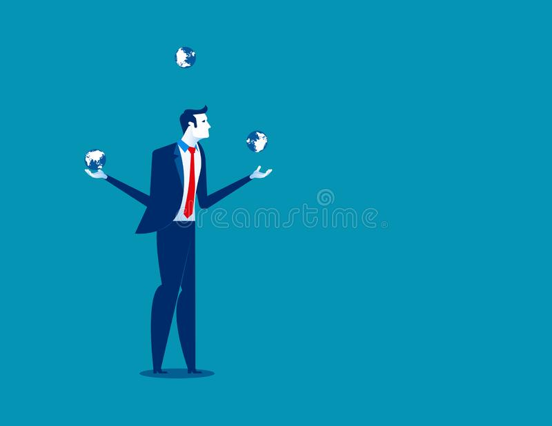 Businessman juggling with planet earth globes. Concept business vector illustration stock illustration