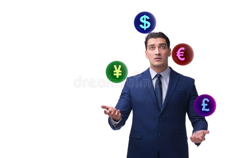 The businessman juggling between various currencies stock image