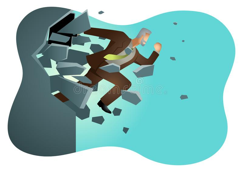 Businessman jump breaking the wall stock illustration