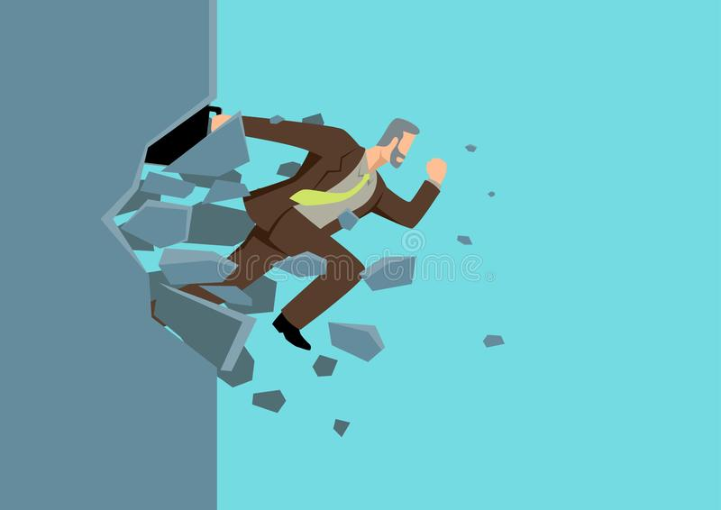 Businessman jump breaking the wall royalty free illustration