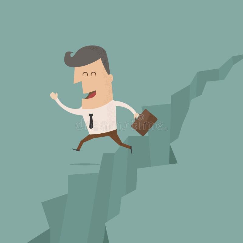 Businessman jump through the gap. Eps10 format vector illustration