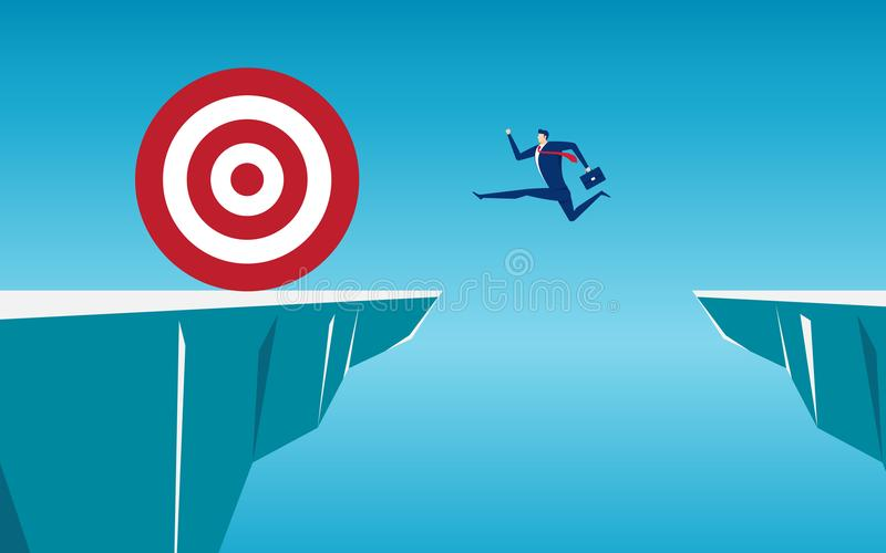 Businessman jump through the gap obstacles between hill to big target and success. Running and jump over cliffs. Business risk and success concept. Cartoon royalty free illustration