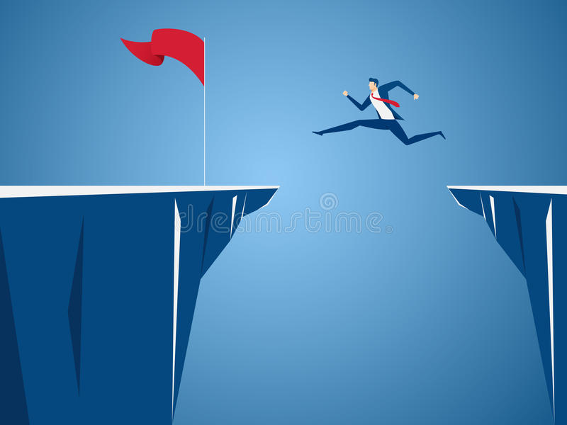Businessman jump through the gap obstacles between hill to red flag and success. Running and jump over cliffs. Business risk. Businessman jump through the gap stock illustration