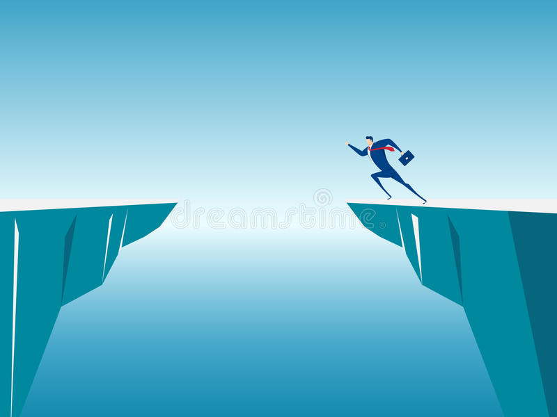 Businessman jump through the gap obstacles between hill to success. Running and jump over cliffs. Business risk and success concept. Cartoon Vector vector illustration