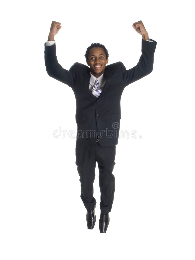 Businessman - jump for joy royalty free stock photography