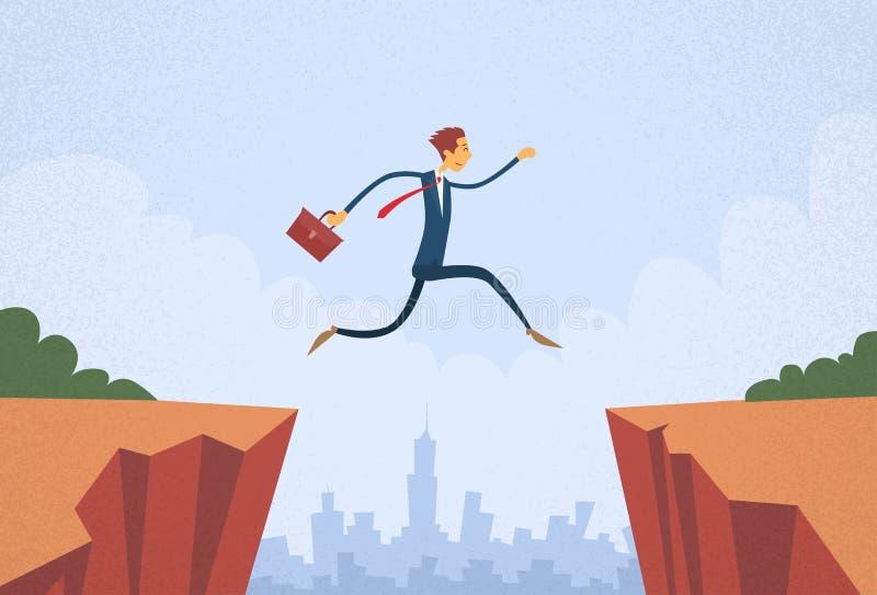 Businessman Jump Over Cliff Gap Mountain. Flat Retro Vector Illustration vector illustration