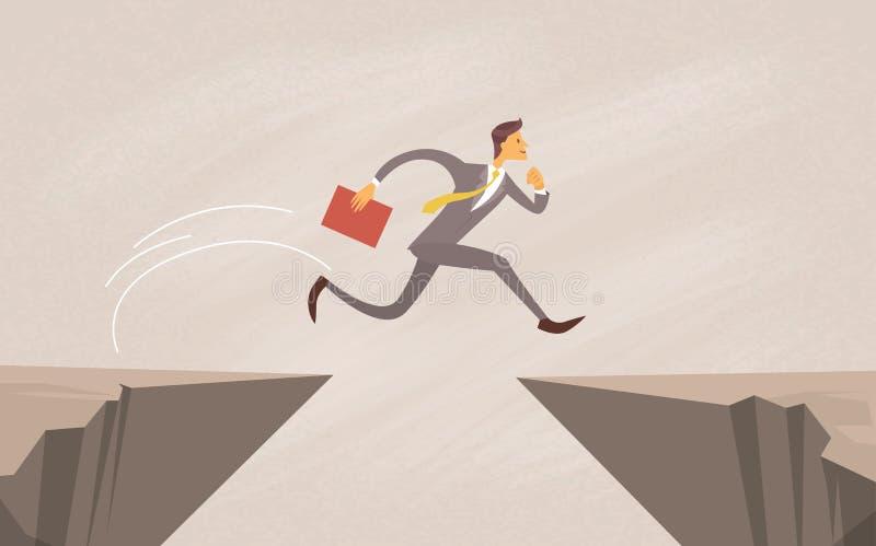 Businessman Jump Over Cliff Gap Mountain. Flat Vector Illustration vector illustration