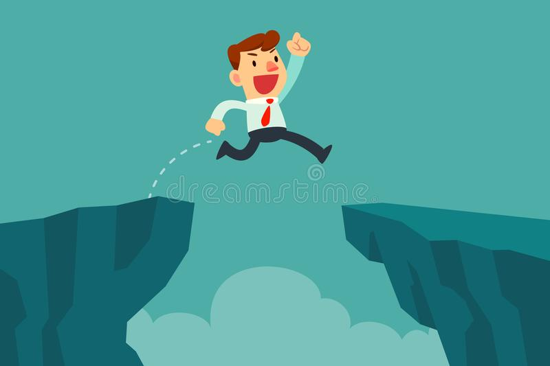 Businessman jump over cliff gap. Overcome the difficulty. Business concept stock illustration