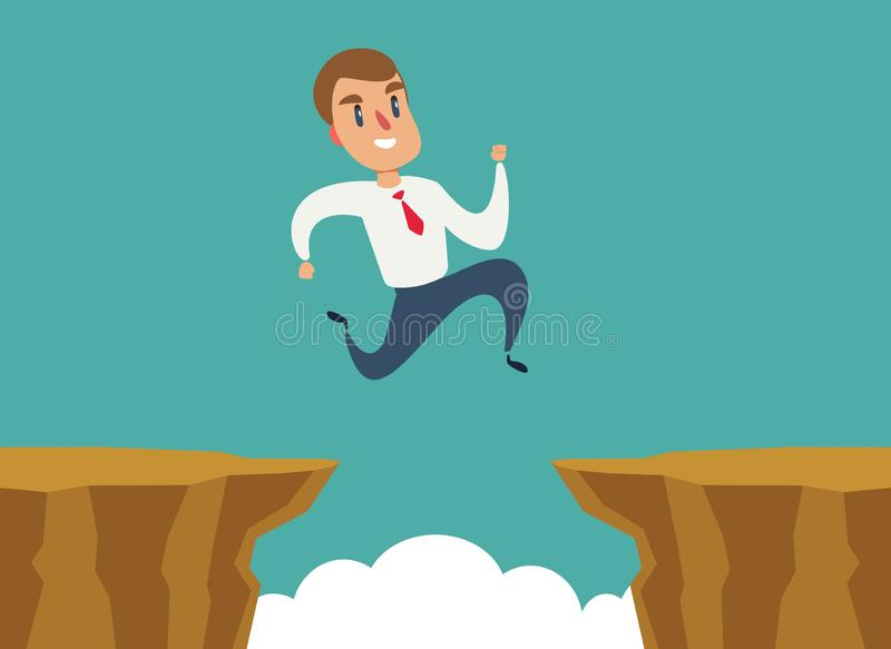 Businessman jump over cliff gap, overcome the difficulty. Business concept. Vector vector illustration