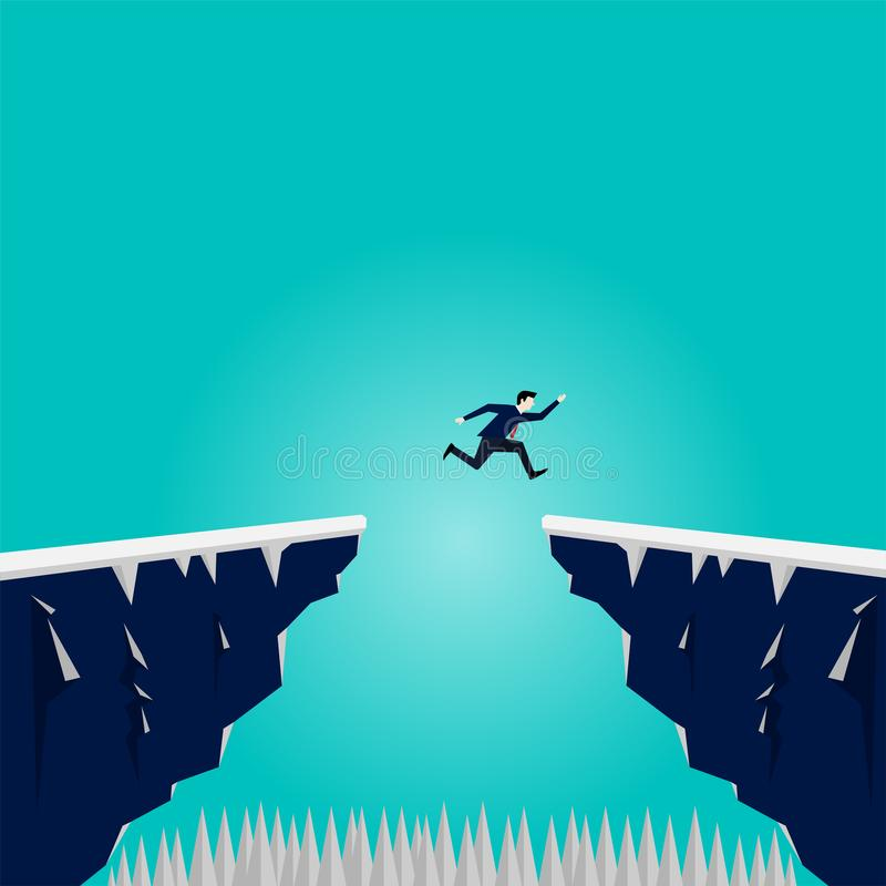 Businessman jump over cliff mountain gap. Person overcome the difficulty, Business concept illustration vector flat stock illustration