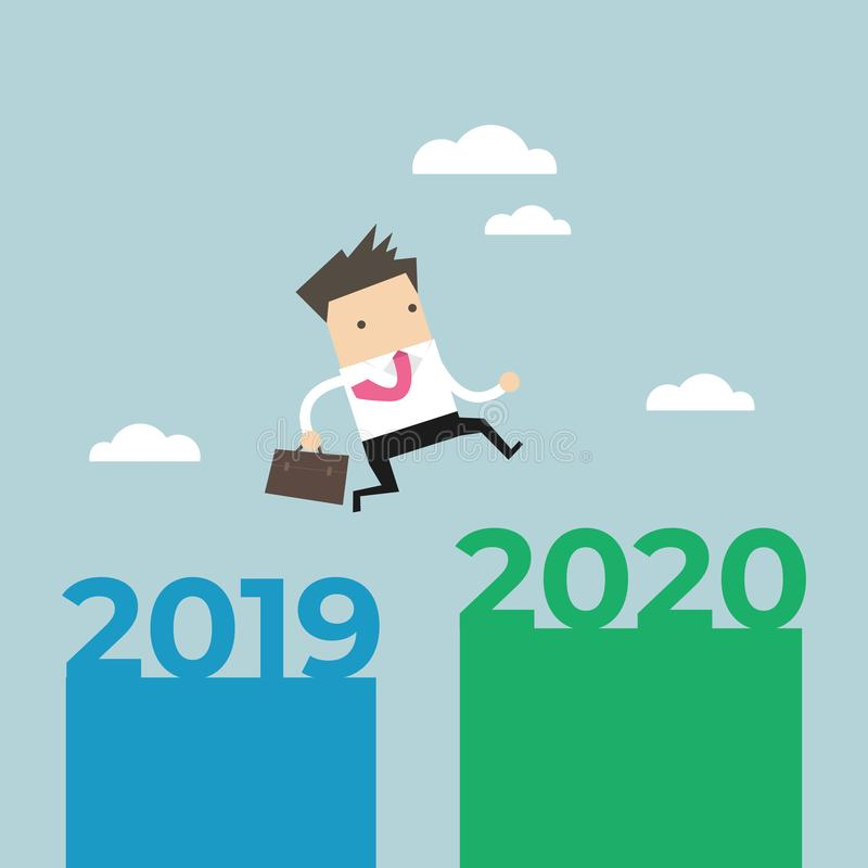 Businessman jump from 2019 to 2020. stock illustration