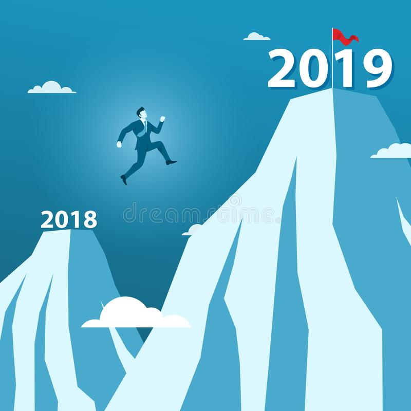 Businessman Jump Between 2018 and 2019 Years on the Top of Mountain Over Big Gap Hill. Concept of Happy New Year 2019 or 2019 Target Goal vector illustration