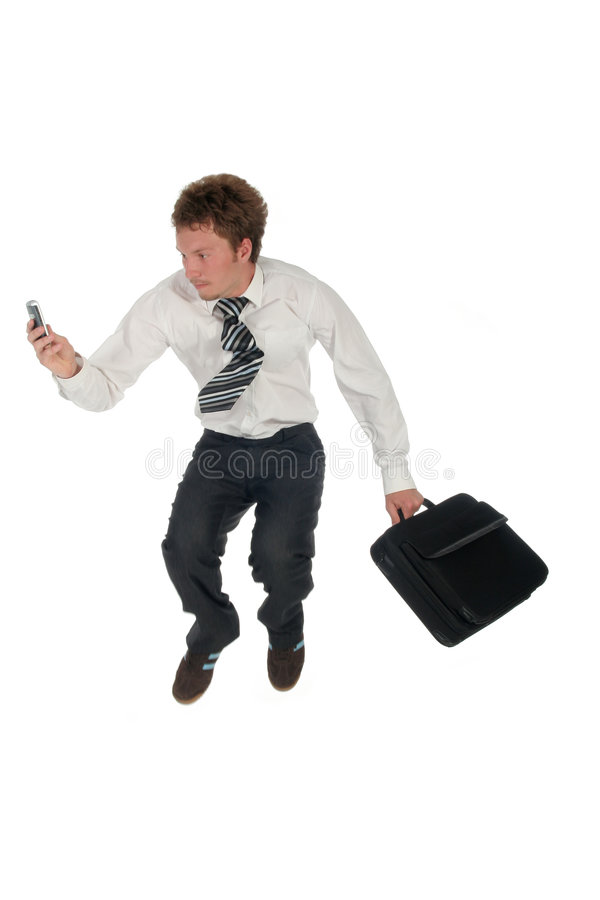 Businessman jumping royalty free stock photography