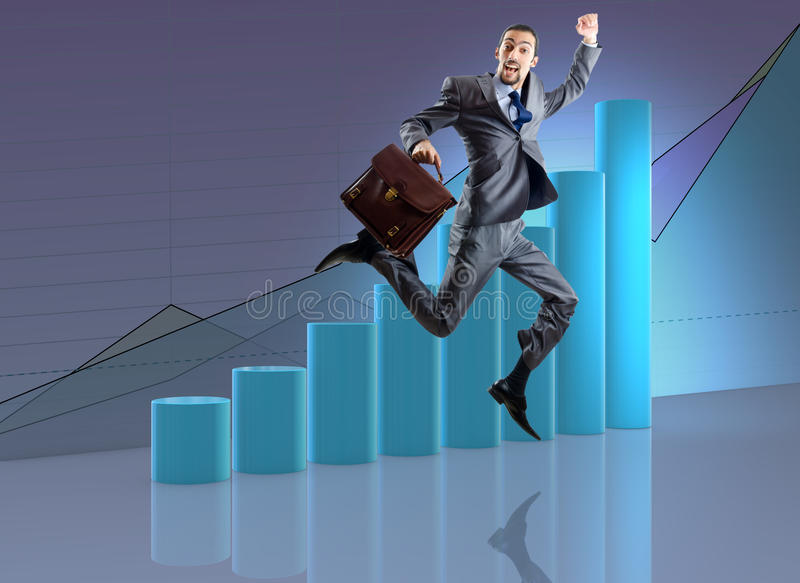 The businessman jumping in business concept. Businessman jumping in business concept royalty free stock photo