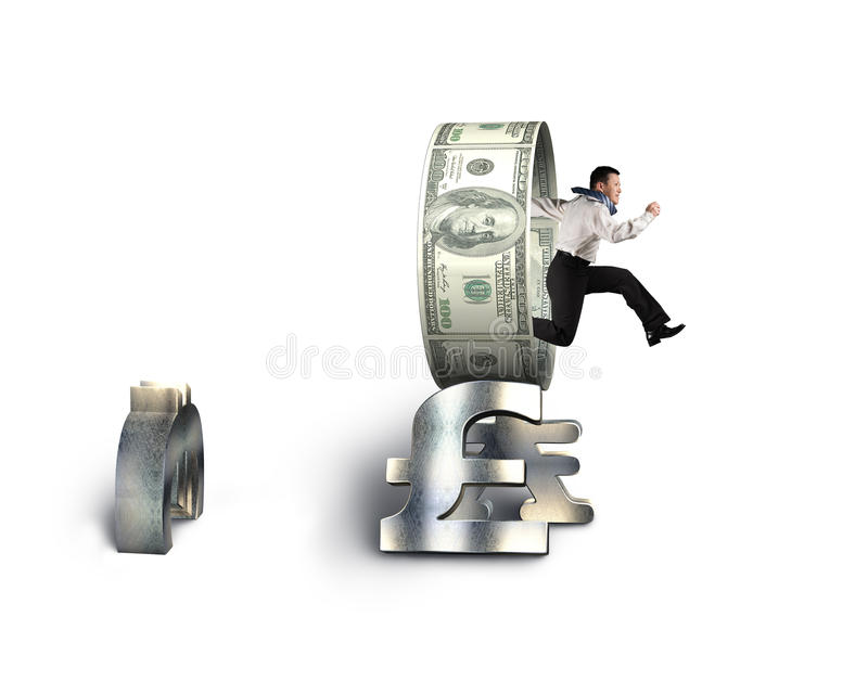 Businessman jumping through circle on stack of money symbols. Businessman jumping through circle on stack money symbols isolated in white background royalty free stock photography
