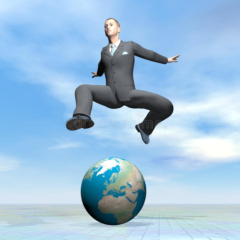 Businessman jumping upon earth - 3D render vector illustration